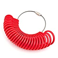 Charmony Red UK A-Z &US 0-13 Finger Ring Sizer Gague Plastic Measure Tool