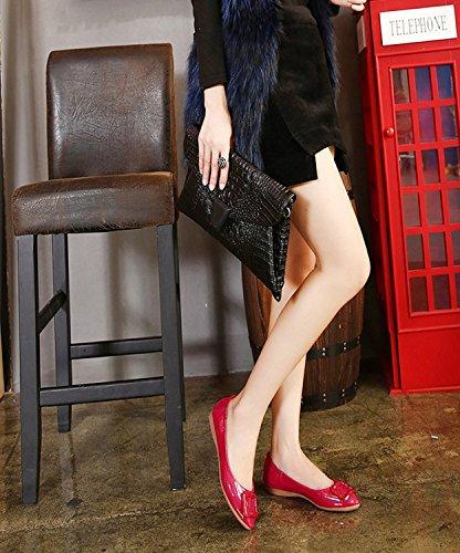 Minetom Donna Ragazze Estate Autunno Ballet Shoes Moda Barca Scarpe Lucentezza Ballerine con Fibbia Rosso