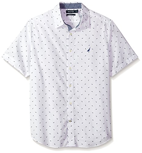 Nautica Herren Short Sleeve Printed Shirt Button Down Hemd, Bright White, Mittel - Nautica White Shirt