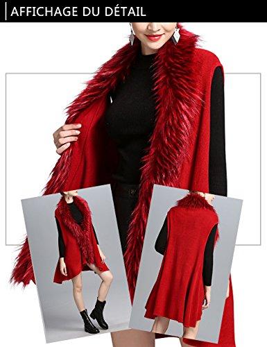 Femme Gilet Veste sans Manches Cardigan de Cocktai Soirée Fourrure Fausse Élégant Chic Cape Beunique Rouge