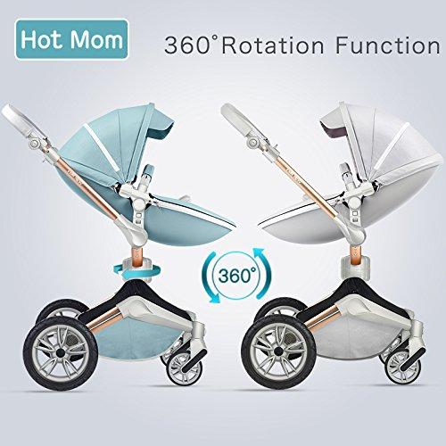 Silla de paseo Hot Mom 3 en 1 Reversibilidad rotación multifuncional de 360 grados con asiento y capazo 2018 Nueva actualización - Gris, obtener: riel de cama para bebé