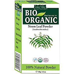 Indus Valley Bio Pure Natural Neem Leaf Powder Enthält Haar und Haut Kräuterbuch in englischer Sprache (100g Neem Leaf Powder)