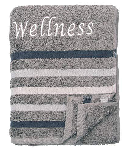 wohnTRAUM24 XXL-Frottiertuch, 100% Bauwolle-Walkfrottee 480g/m2, mit Webbordüre und Edler Stickerei, 80x200 cm, Wellness Anthrazit