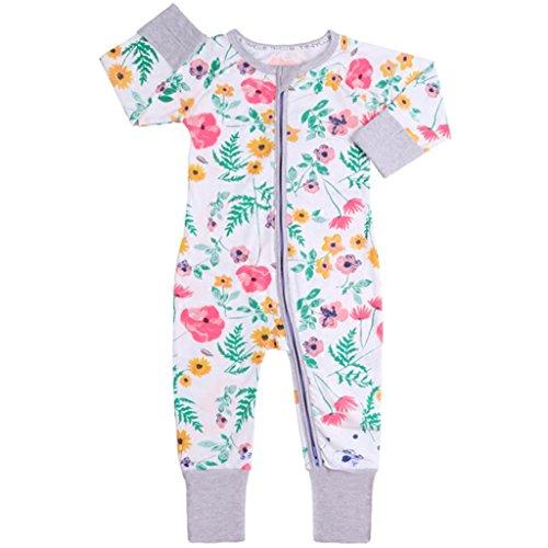 Baby Overalls Mädchen Schlafanzug Baumwolle Stramper Spielanzug Langarm Body Reißverschluss 9-12 Monate - Overall 9 Monate