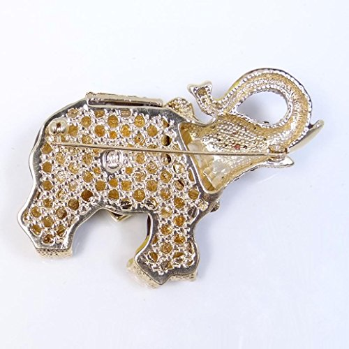 EVER FAITH® Eléphant Broche Aimable Animale Email Cristal Autrichien Brun