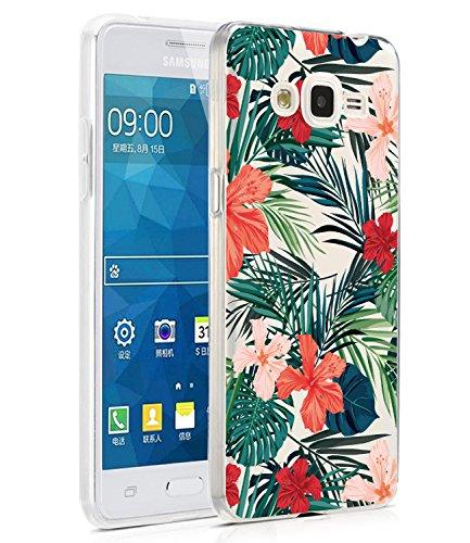 Galaxy Grand Prime Fall, Galaxy J2Prime Fall mit Blumen, baisrke Slim stoßfest transparent Floral Muster weiche Biegsame TPU Back Cove für Samsung Galaxy Grand Prime G530/J2Prime, Palm Tree Leaves -