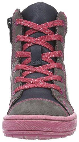 s.Oliver 35212, Sneakers Hautes Fille Bleu (Navy Comb 891)