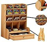 Portapenne grande capacità, in stile nordico, creativo, alla moda, semplice portapenne da ufficio, multifunzionale, leggero, pratico, in legno di ciliegio (Cherry wood)