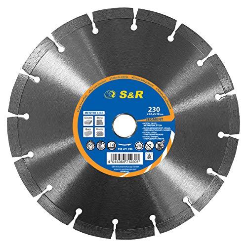 S&R Diamanttrennscheibe 230x22,2 mm Standard, lasergeschweißt. UNIVERSAL zum Schneiden von allen Baumaterialien, Beton, Naturstein, Stein, Ziegel