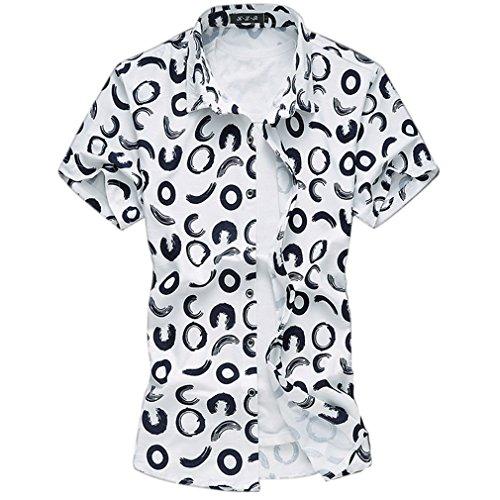 Honghu Herren Elastizität Regular Fit Kurze Ärmel Hemden Weiß