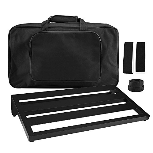 IRICH Aluminium Pedalboard mit Taschen, Gitarre Effekt Pedal Board Case (L Größe: 50*28,6*10CM)