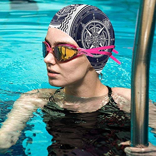 Gebrb Indian Mandala Compass Lycra Gorro de Natacion Comfortable Fit Gorro de Baño Bathing and Shower Hair Cover Ear Protection for Long Hair & Thick Hair & Curly Hair, Easy to Put On and Off