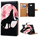 KASOS Galaxy A3 2017 Leather Case, Flip Wallet Case Wolf LIght Red Moon Cash and Card Slots Pouch Leather Cover Magnetic Closure Secure Lock and Stand Feature Hard PC Back Shell Cradle