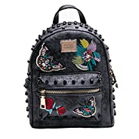 MUSAA Women Girls Pu Leather Rivet Studded Backpack Fashion hand-embroidered Casual Shoulder Bags(Black gray)