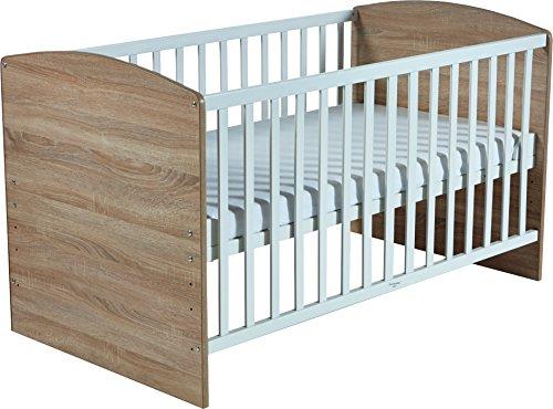 roba Kombi Kinderbett 'Lena', 70x140 cm, Babybett Eiche sägerau/weiß, 3-fach höhenverstellbar, Baby- bzw. Kinderbett umbaubar zum Juniorbett