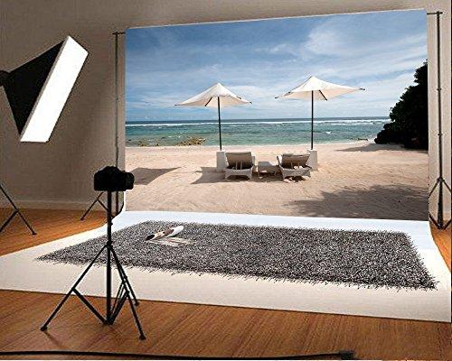 YongFoto 1,5x1m Fotografie Hintergrund Sun Stuhl Beach Sun Shine Blue Sea Scenery Hintergründe die Fotografie Fotoshooting Party Neugeborene Kinder Baby Persönlichen Hochformat Foto Hintergrund Studio