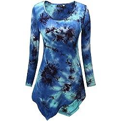 kormei-Gafas de sol para mujer Lagenlook vestido pañuelo dobladillo elástico Slim Fit túnicas Tops blusa camiseta azul Tie Dye Blue XX-Large