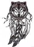 Wolf Traumfänger Tattoo schwarz Arm Oberarm Tattoo auch für Körper Schulter Rücken Bein HB577