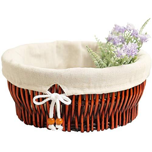 Öko-runde Weidenkorb,Handgewebte rattan storage box spielzeug bambuskörben mit liner-braun 35x14.5cm(14x6inch) (Wäschekorb Weide Mit Liner)