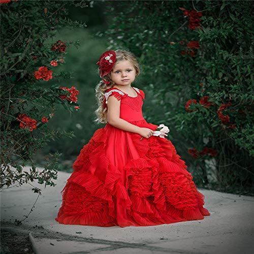 Bixialan Mädchen Spitzenkleid Blumenmädchen Kostüm Kinder Festzug