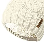 TOSKATOK Ladies Chunky Soft Cable Knit Hat with Cosy Fleece Liner and Detachable Faux Fur Pompom… 4