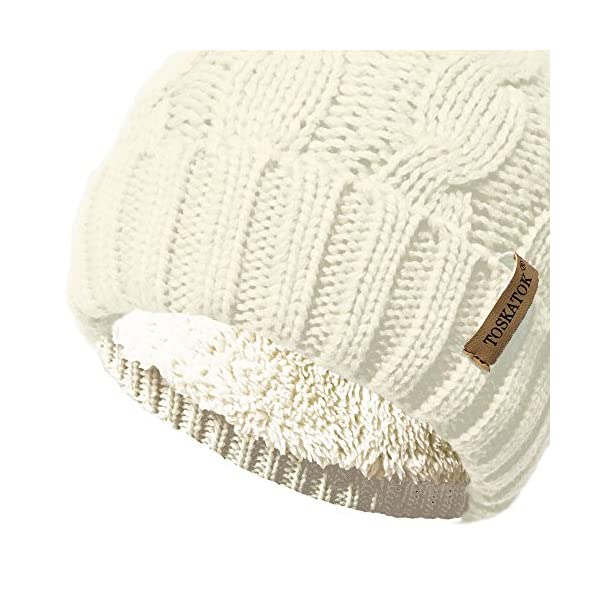 TOSKATOK Ladies Chunky Soft Cable Knit Hat with Cosy Fleece Liner and Detachable Faux Fur Pompom… 2
