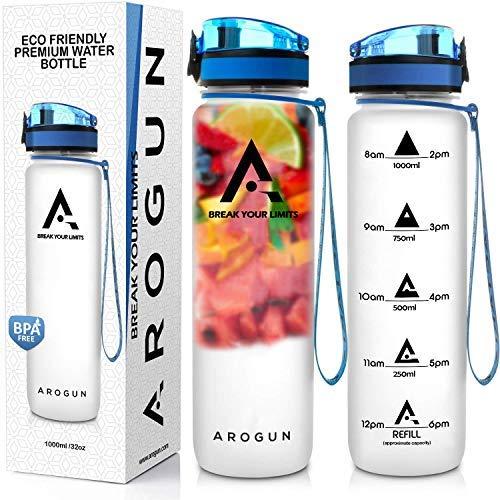 Arogun Trinkflasche - 1L, Wasserflasche Auslaufsicher, Sportflasche BPA-Frei, mit Fruchteinsatz, Zeitmarkierung, Durchsichtig, Schule, Sport, Fahrrad, Outdoor, Fitness, Büro