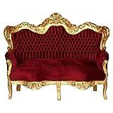 Decobay.eu Big Sofa Barock 3-Sitzer Couch Bordeaux Rot Gold Exklusiv Königlich Antik Stil
