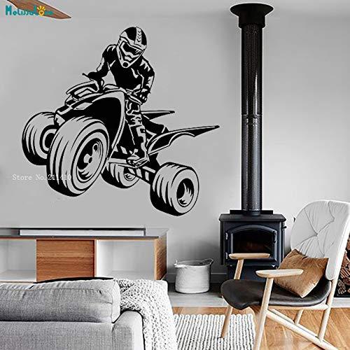 Quad Bike Vinyl Wandtattoo Sport ATV Garage Man Cave Decor Aufkleber Kunstwand selbstklebende Home Wohnzimmer Schlafzimmer YT XL 88x84 cm