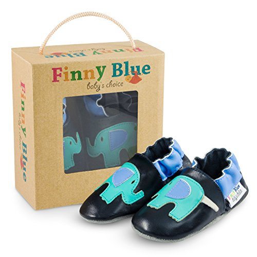 Premium Lauflernschuhe - inklusive Geschenkverpackung - hochwertige Krabbelschuhe mit Wildledersohle - passgenaue Babyschuhe aus echtem Leder für die ersten Schritte deines Kindes Elefant