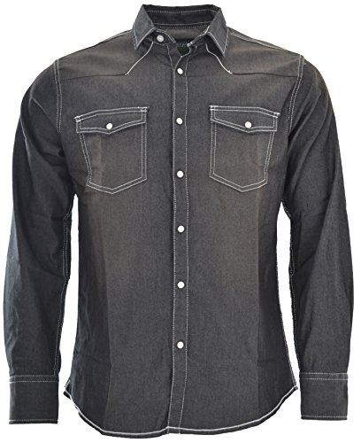 Attire Herren Jeans Hemd Freizeit Denim Langarm Black Denim Grey Jeanshemd Shirt Regular Fit (S, Black Denim)
