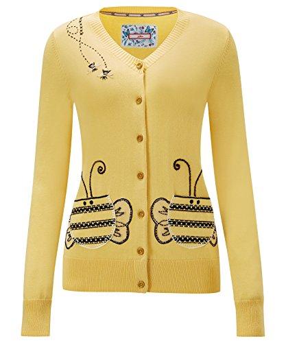 Eine Gestickte Strickjacke (Joe Browns Damen Strickjacke mit gesticktem Bienen-Motiv Gelb 40)