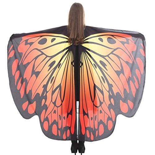 wuayi Cosplay Schmetterlingsflügel Schal Schals Nymphe Pixie Poncho Kostüm Zubehör mit Armband (168*135CM, I) (Schal Junioren)