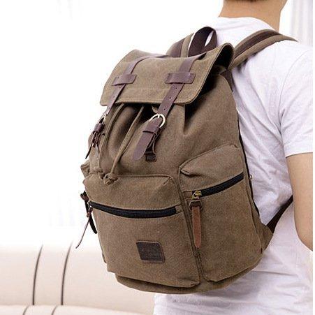 Eleoption Unisex Canvas Backpack Rucksack School Hiking Bag Schultertasche (Braun) Braun