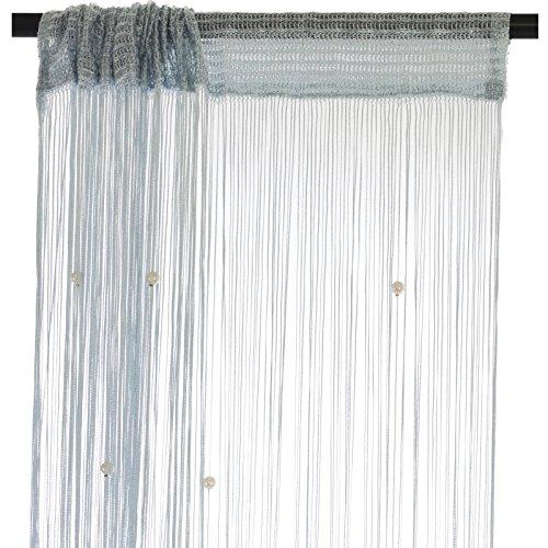 Smartfox Fadenvorhang 140 x 250 cm in Silbergrau mit Perlen Fadengardine Fadenstore Vorhang Schal Faden
