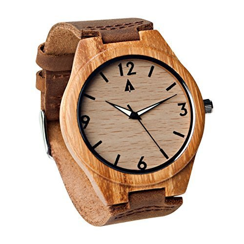 Treehut Herren Bambusholz-Armbanduhr, braunes Echtleder-Band, Quarz, Analog, mit Hochwertigem Miyota-Uhrwerk, Zeiger leuchten im Dunkeln, 4,3cm