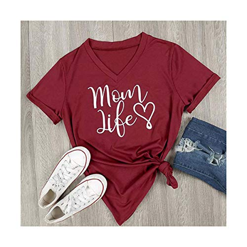 2018 Summer Casual T Shirt Female Tee Loose Tops Fashion Women T-Shirts Mom Life Letter Printed V-Neck Short Sleeve Tops Red XL -