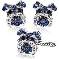 """Pendientes de diseño de perro Pug de plata ajustable anillo de dedo 0,6""""abierto anillos Rhinestone Stud Pendientes"""