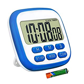 Digital Magnetic Timer for Kitchen with Clock, Countdown/up, Memory Setting, Louder Alarm, 3 Placement for Home, Reading, Yoga, Nip, Salon, Resuscitation trolleys, Blue