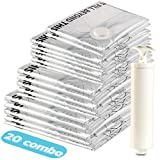 Eono Essentials, sacche sottovuoto con Pompa per Il Vuoto, Set da 20 Pezzi, 2 da Viaggio, 2 Small, 6 Medium, 5 Large, 5 Jumbo