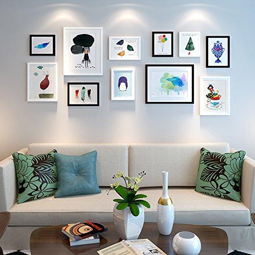 HJKY Photo Frame Wall Set Das Wohnzimmer in einem Restaurant im skandinavischen Stil frische kleine Schlafzimmer Bett eingerichtet ist ein modernes und einfaches kreative Wandmalereien Kombination geeignet für 2-4 m Wand 25 mm dick, schwarz-weiß-Kombination (Bett Frame-set)