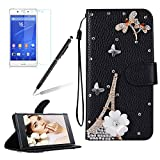 Glitter Leather Case Cover for Sony Xperia Z5,Girlyard Shiny Bling DIY Crystal Diamond Magnetic Closure Flip Case with [Wrist Strap] with [Card Slots] Stand Function Shockproof Wallet Case Cover for Sony Xperia Z5