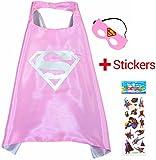 Super Girl Pink Super Woman Cape e maschera - Super Eroi di costumi per bambini - Costume per bambini da 3 a 10 anni - per Super Eroe feste a tema. Giocattoli per bambine - King MUNGO - kmsc019