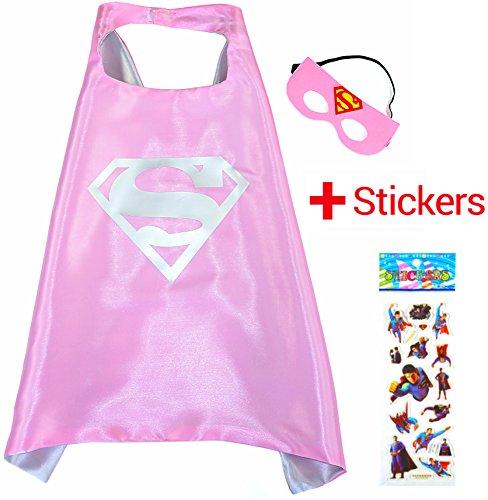 woman Cape und Maske - Superhelden-Kostüme für Kinder - Kostüm für Kinder von 3 bis 10 Jahre - für Superheld Mottopartys! Spielsachen für Mädchen - King Mungo - KMSC018 (Pink Supergirl Kind Kostüme)