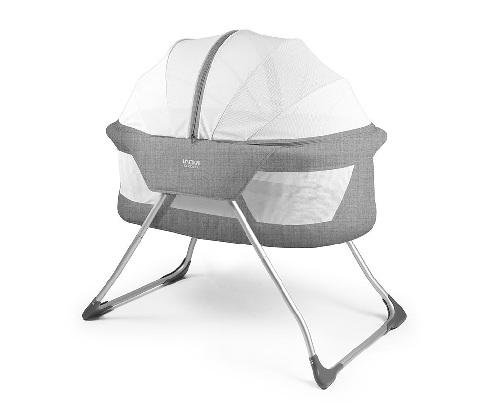 Inovi Cocoon Folding Moses Crib Travel Cot Grey Inovi Compact and lightweight for use at home or when travelling The Inovi Cocoon provides a safe andsecure sleeping environment for your baby. Suitable from birth up to approx. 6 months old 1
