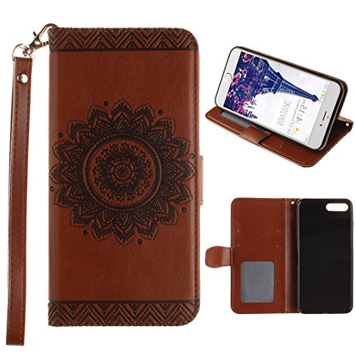Cover iPhone 7 Libro, Caso iPhone 7 Flip Custodiain Pelle, Moon mood® Mandala Custodia in Cuoio PU Portafoglio Shell con Carta Slots Shockproof Leather Wallet Stand Cover Flip Case with Magnetic Snap Brown