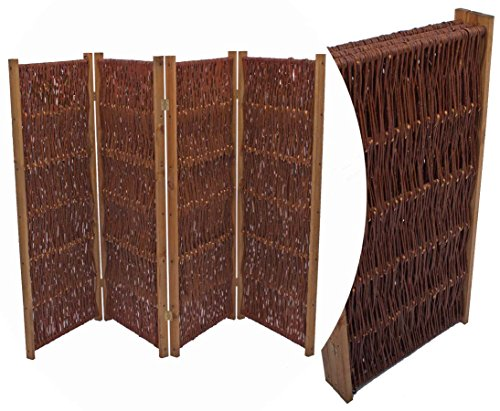 bambus-discount.com Weiden Paravent, Paravent Höhe 120cm x Breite 180cm, 3 teilig - Raumtrenner mobiler Sichtschutz