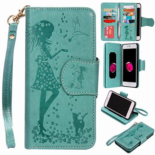 Yiizy Apple IPhone 7 Plus Coque Etui, Fille Gaufrage Design Mince Flip PU Cuir Cover Couverture Rabat Case Coquille Portefeuille Housse Média Stand de Fente pour Carte Bumper Protecteur Skin Poche (Vert)