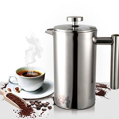 ETiME Kaffeebereiter Kaffeekanne Teebereiter French Press System Edelstahl thermoisoliert groß 1 L...