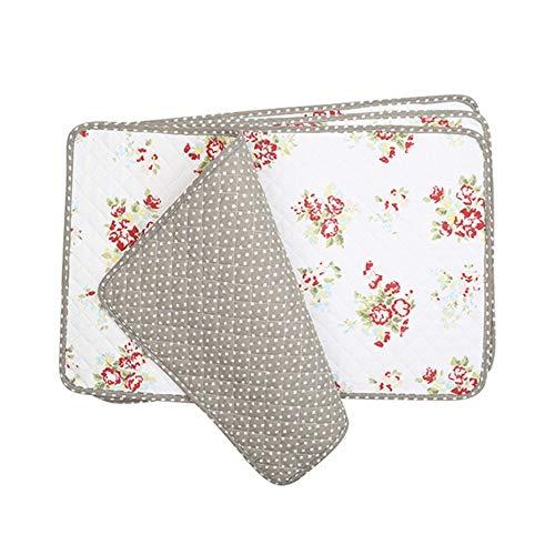 Xllf 4 pz tovagliette imbottite in tessuto di cotone per sala da pranzo, set di 4, tovagliette natalizie floreali